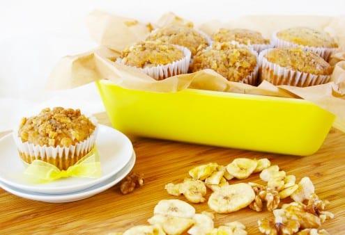 Banana Walnut Muffins with Banana Chip Streusel