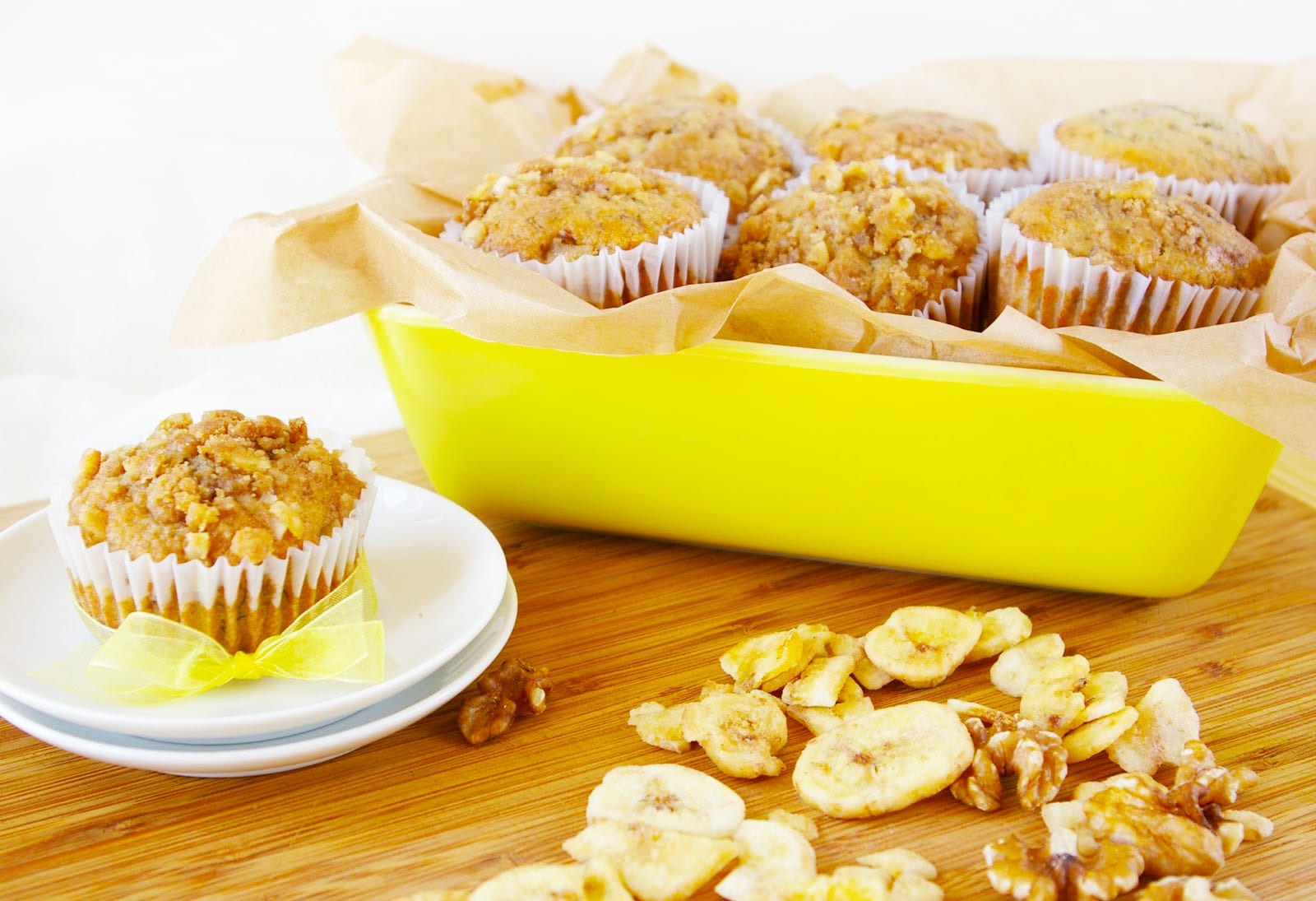 Banana Walnut Muffins with Banana Chip Streusel