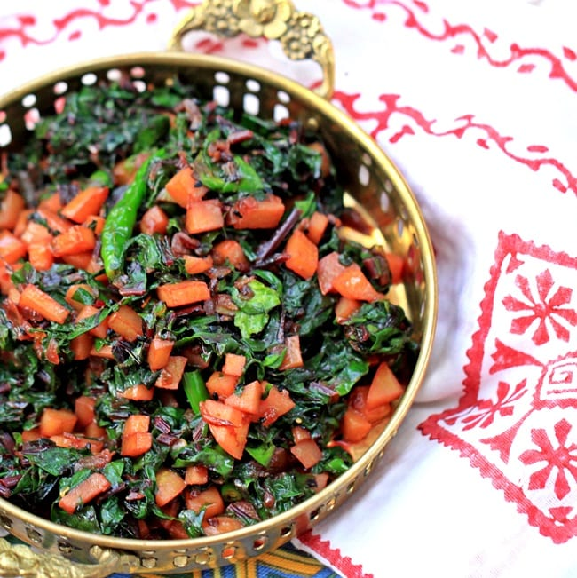 Beet Greens with Potatoes and Nigella Seeds