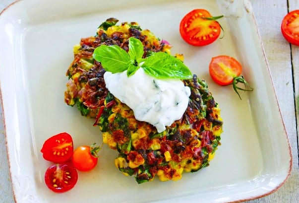 Rainbow Chard and Corn Fritters with Herbed Goat Cheese Sauce