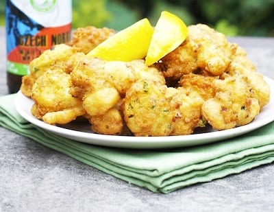 Imperial Pilsner Scallop and Clam Fritters