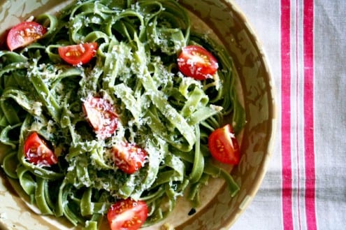 Lemon Artichoke Pesto Pasta