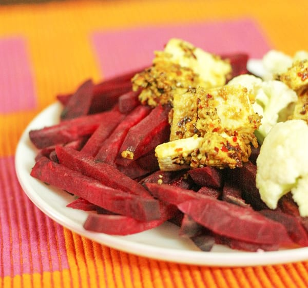 Mustard Girdled Tofu, Beet and Cauliflower Salad