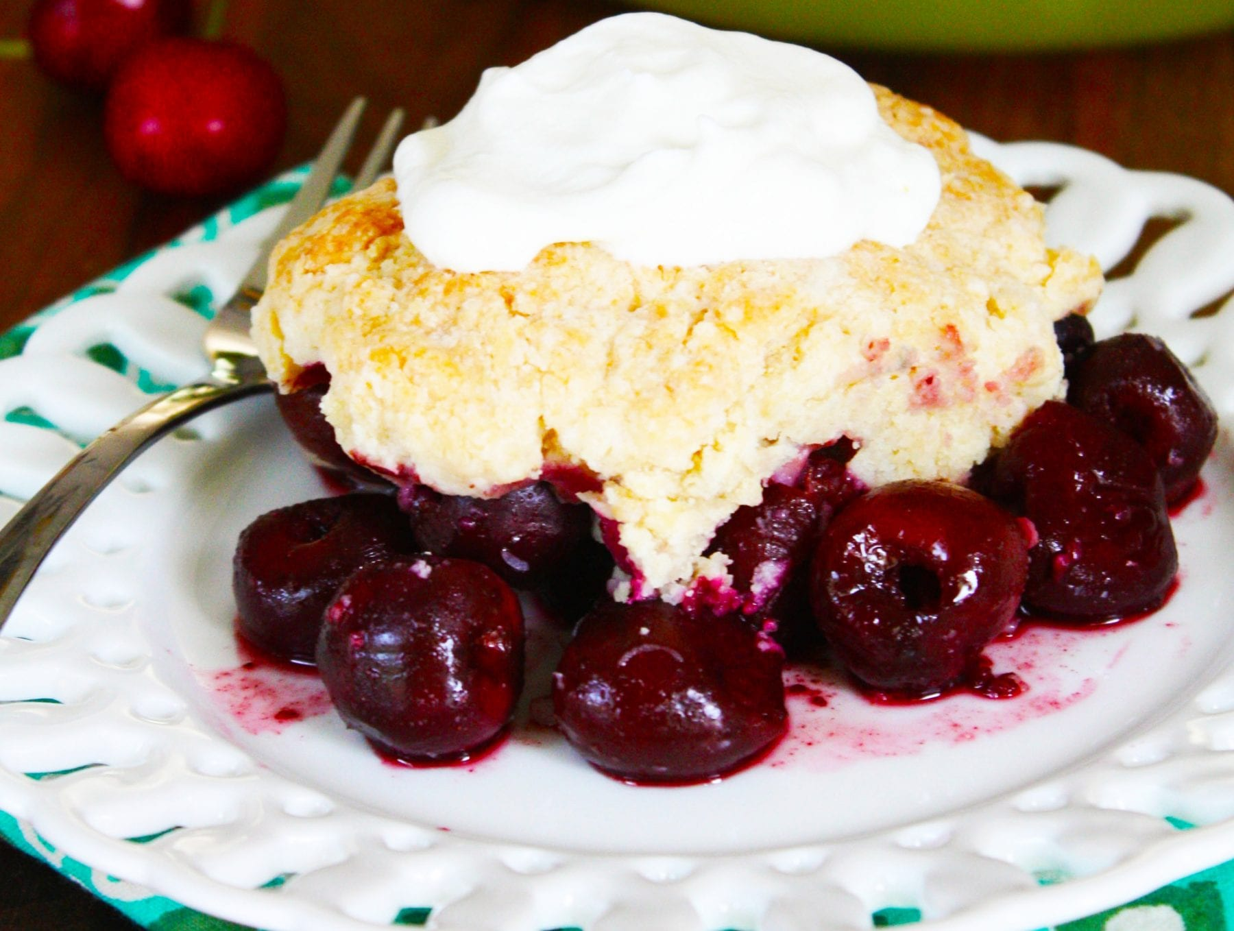 Cherry Cobbler with Bourbon Whipped Cream