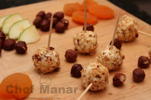 Goat Cheese Balls Covered with Roasted Oats and Hazelnuts