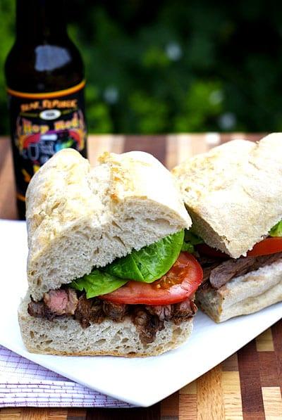 IPA & Sriracha Marinated Grilled Steak Sandwich