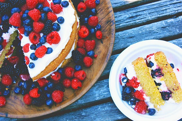 Polenta Olive Oil Layer Cake with Fruit and Créme Fraîche Whipped Cream
