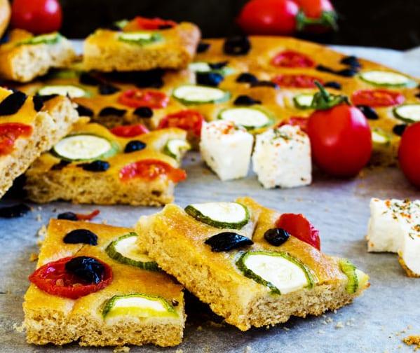 Tomato, Zucchini and Olive Focaccia