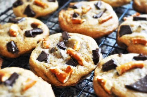 Chocolate Chunk Cookies with Pretzels