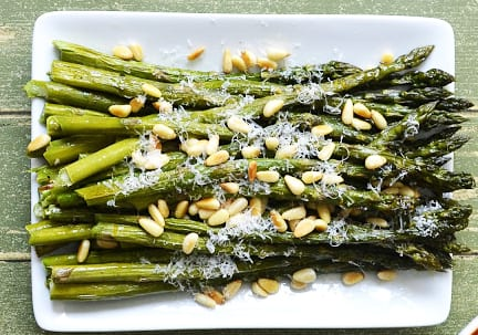 Citrus Roasted Asparagus with Parmesan and Toasted Pine Nuts