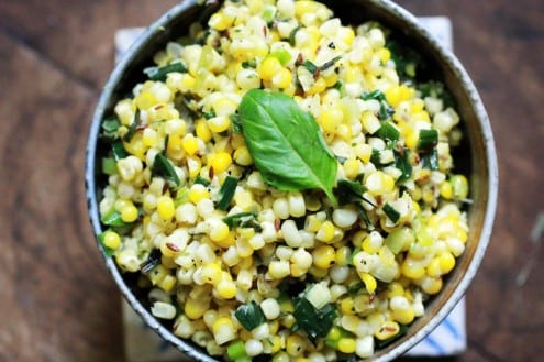 Stir-Fried Corn with Basil and Leeks