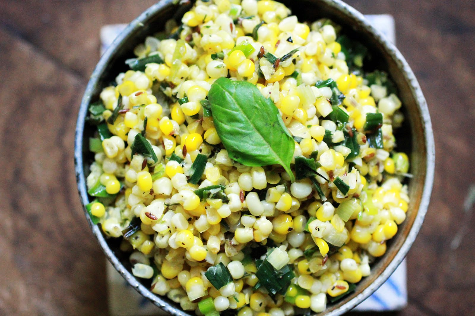 Stir fried corn with basil and leeks recipe by chitra agrawal stir fried corn with basil and leeks forumfinder Choice Image
