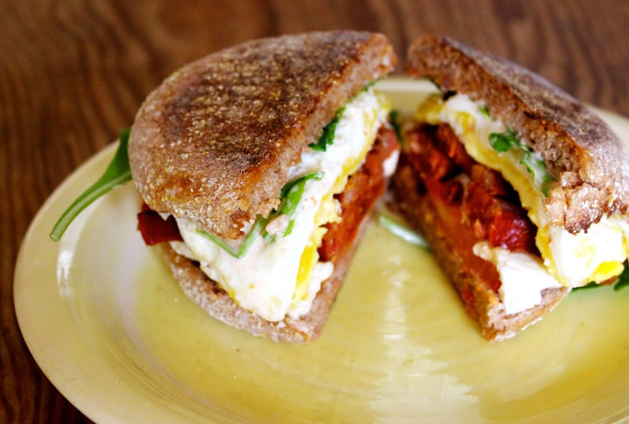 Fried Egg Sandwich with Chorizo, Mozzarella, Arugula and Fiery Aioli