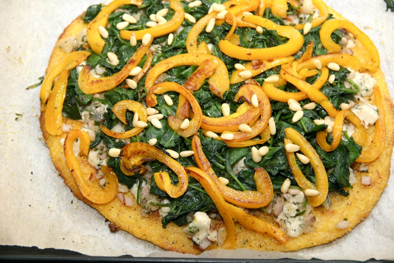 Polenta Pizza With Pancetta, Roasted Peppers, Gorgonzola and Pignoli