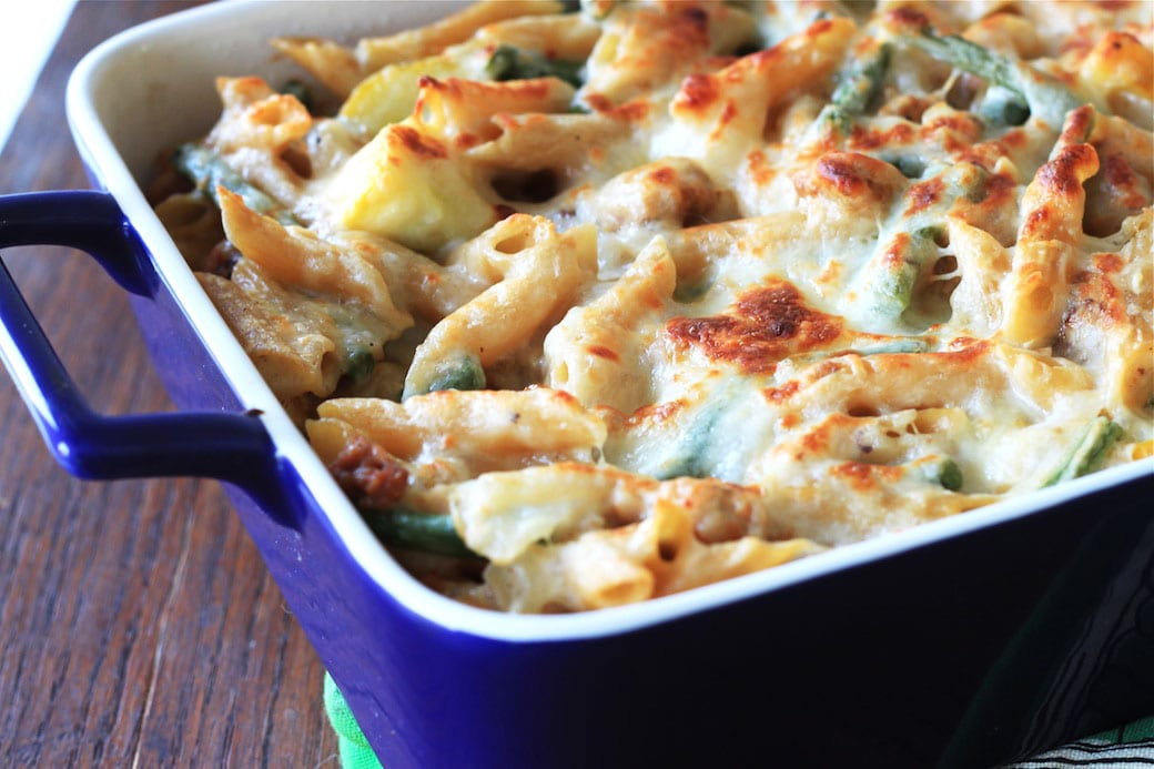 Baked Pasta with Veggies, Sausage and Goat Cheese Sauce