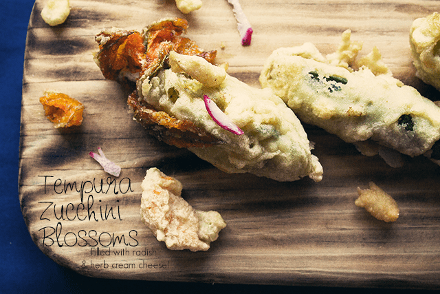 Zucchini Blossoms filled with Radish and Herb Cream Cheese