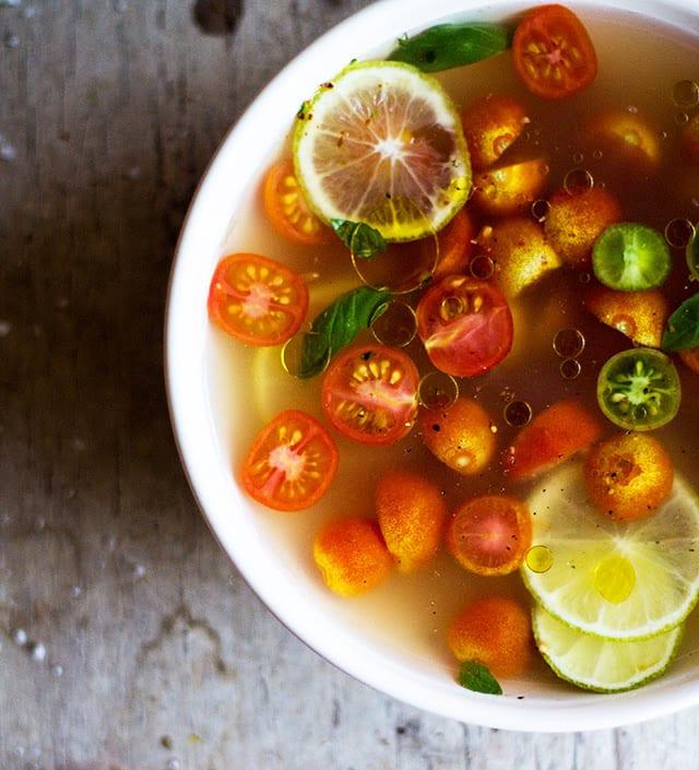 Tomato Gaspacho Consommé