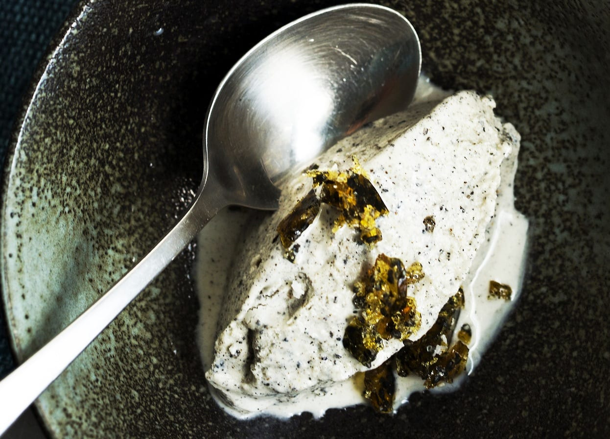 Black Sesame and Coconut Ice Cream with Brittle