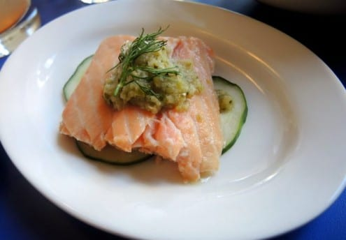 house-pickled salmon, with cucumber and a green-grape jalapeño relish