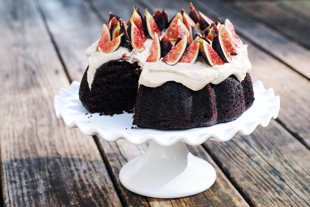 Gluten-Free Chocolate Cake with Cashew Cream and Figs