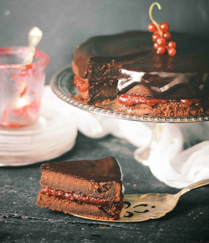 Whole Wheat Chocolate Cake with Red Currant Jam