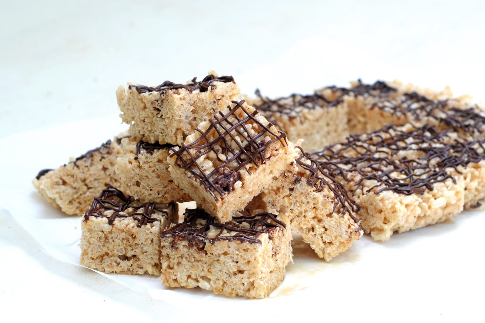 Brown Butter Rice Crispy Treats with Chocolate Drizzle