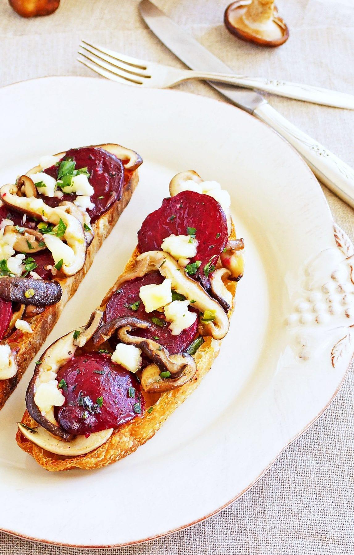Roasted Beet and Shiitaki Mushroom Tartines