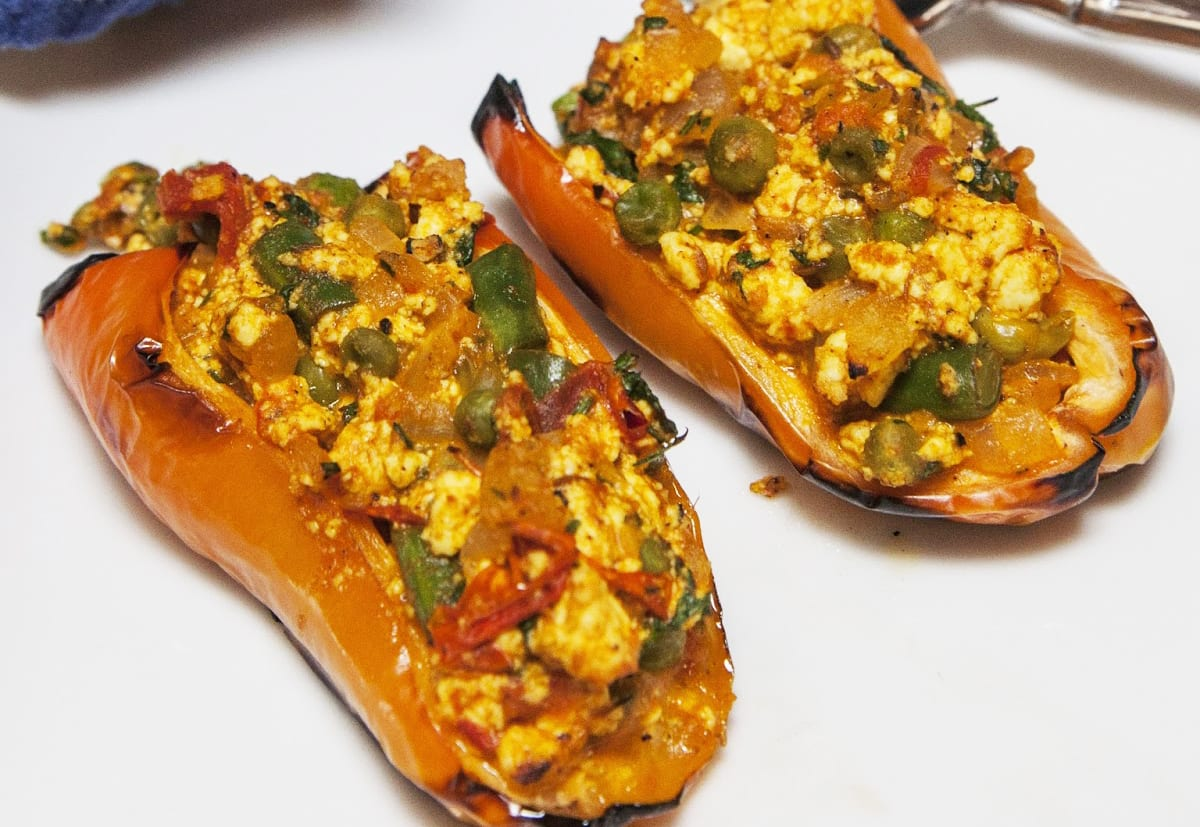Indian Peppers Stuffed with Paneer Cheese