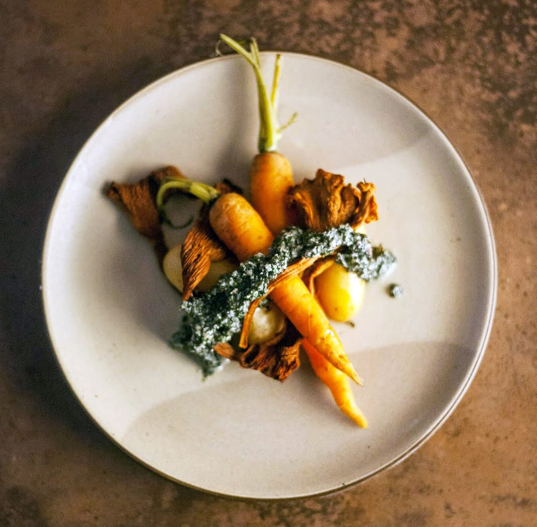 Carrots, Fingerlings and Chanterelles Cooked In Hay With Seaweed Pesto