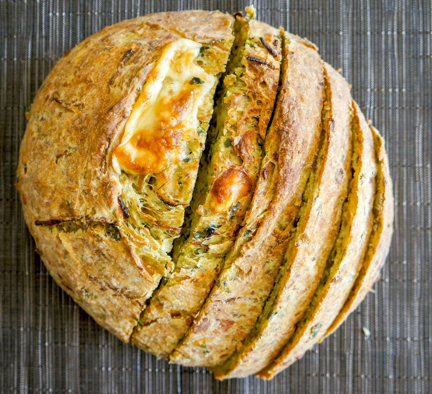 Cheesy Spinach and Caramelized Onion Bread