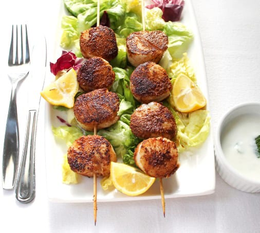 Scallop Skewers with Mint Yoghurt Sauce