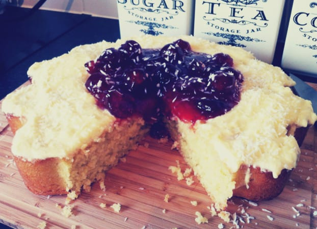 Coconut Cake with Rosewater and Jam