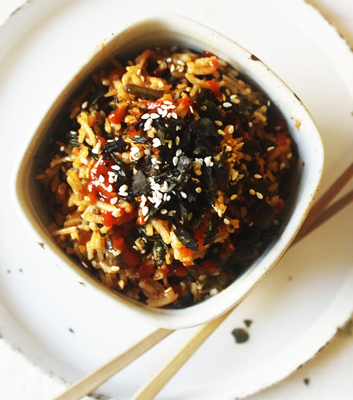 Fried Rice with Kimchi and Spinach