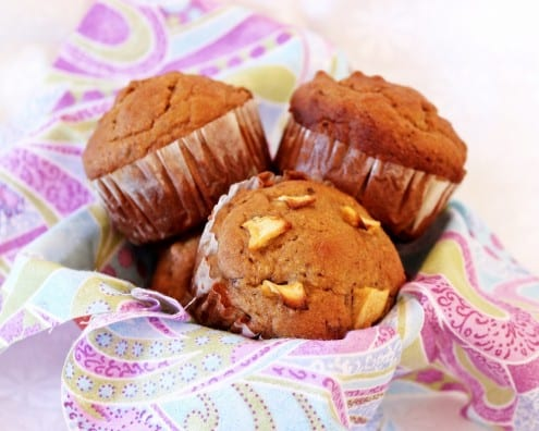 Healthy Apple, Date and Walnut Muffins