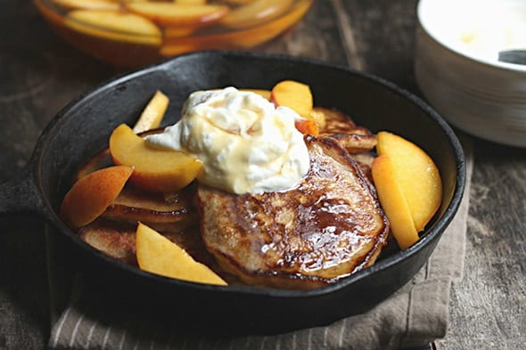 Pancakes with Brandied Peaches