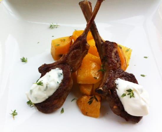Lamb Chops with Roasted Rutabaga
