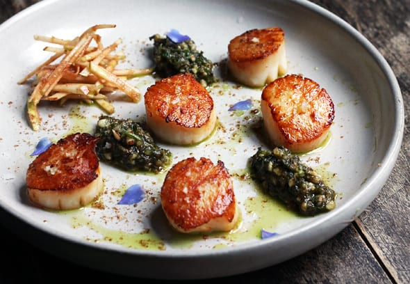 Scallops with Pickled Apples