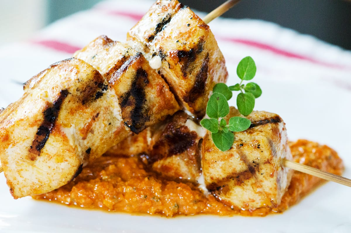 Swordfish Skewers with Red Pepper Pesto