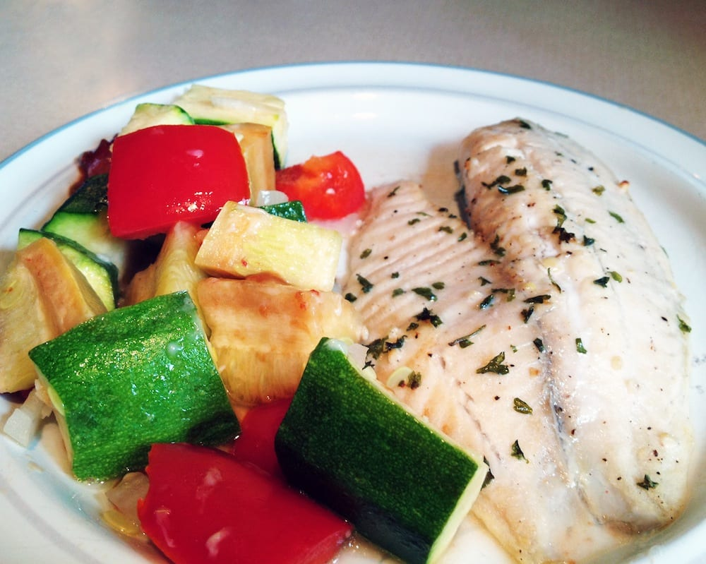 Broiled Tilapia with Parmesan Roasted Vegetables