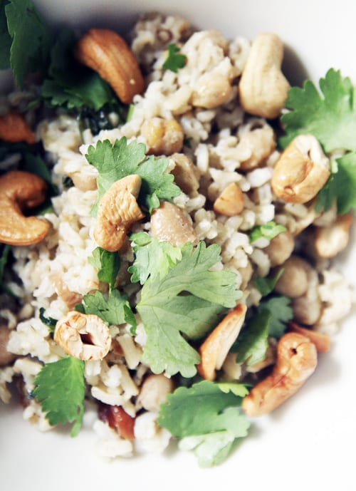 Chickpea, Cashew and Shallot Pilaf