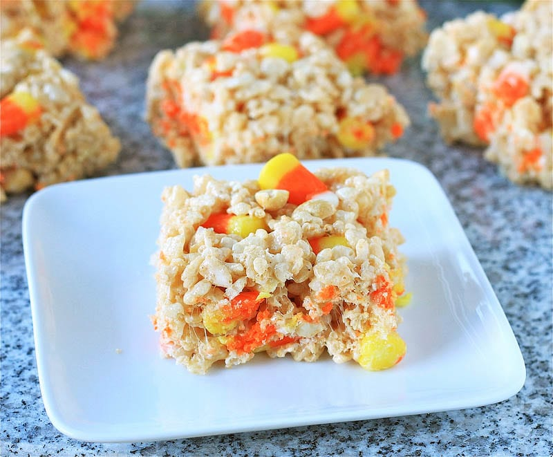Candy Corn and Salted Peanut Rice Krispie Treats