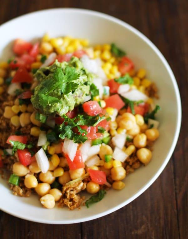 Cauliflower-Rice and Guacamole Burrito Bowl