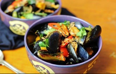 Mussels in Green Curry