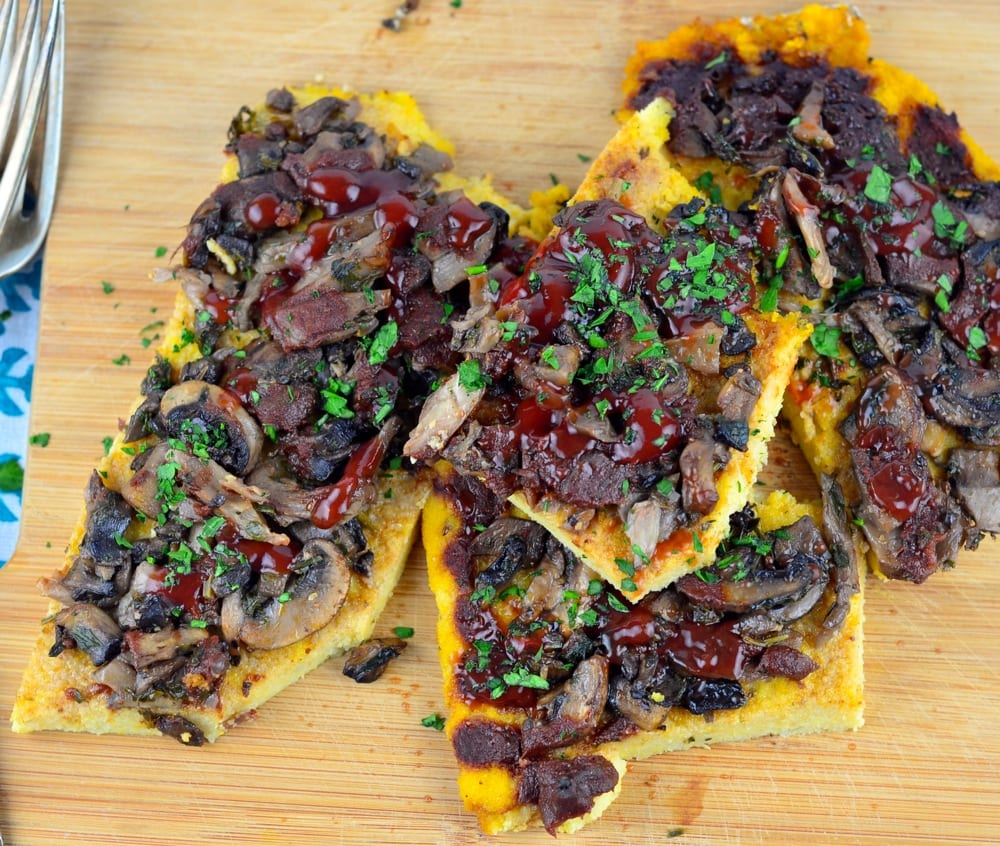 Cashew Polenta with Mushrooms and Tomato-Pomegranate Reduction