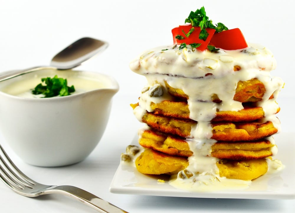 Chickpea Flour Pancakes with Greek Yogurt Caper Sauce