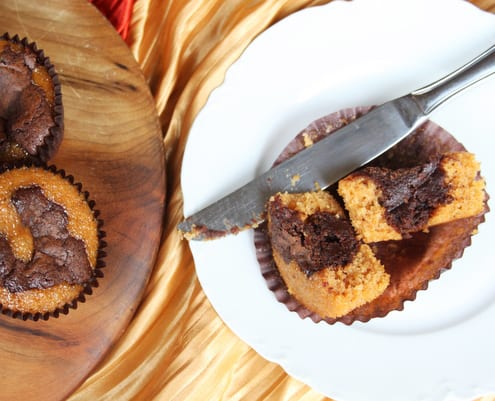 Pumpkin, Chocolate and Caramel Brownie Bites