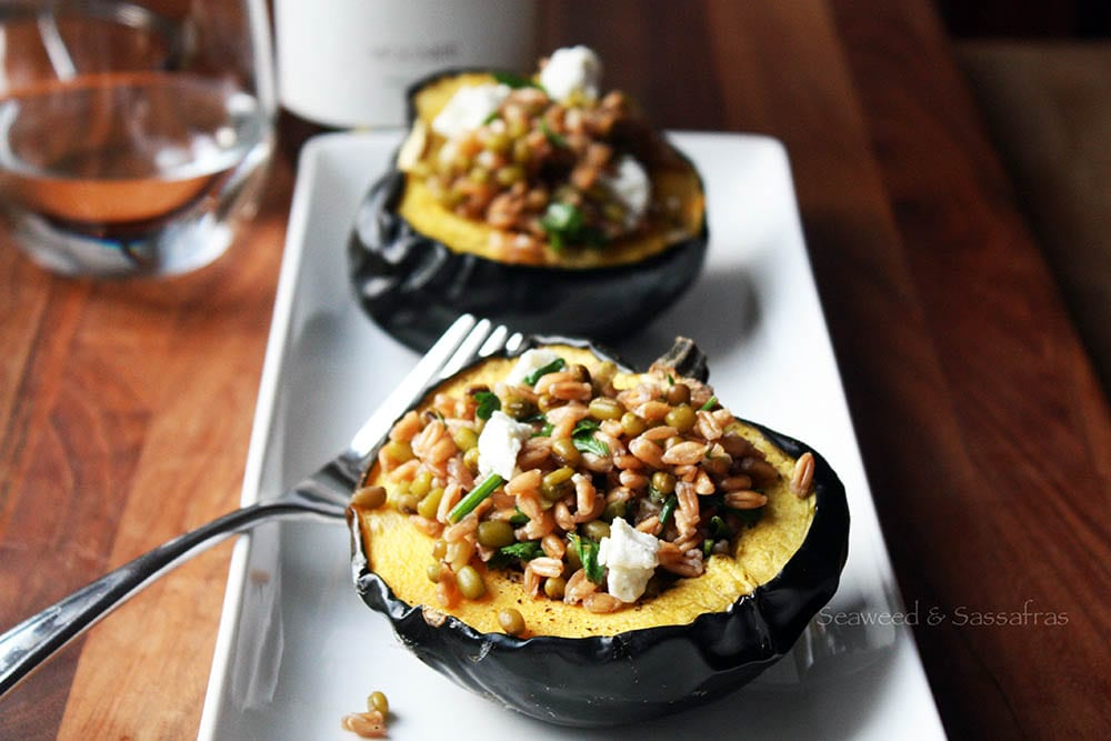 Roasted Acorn Squash with Farro, Mung Beans and Goat Cheese