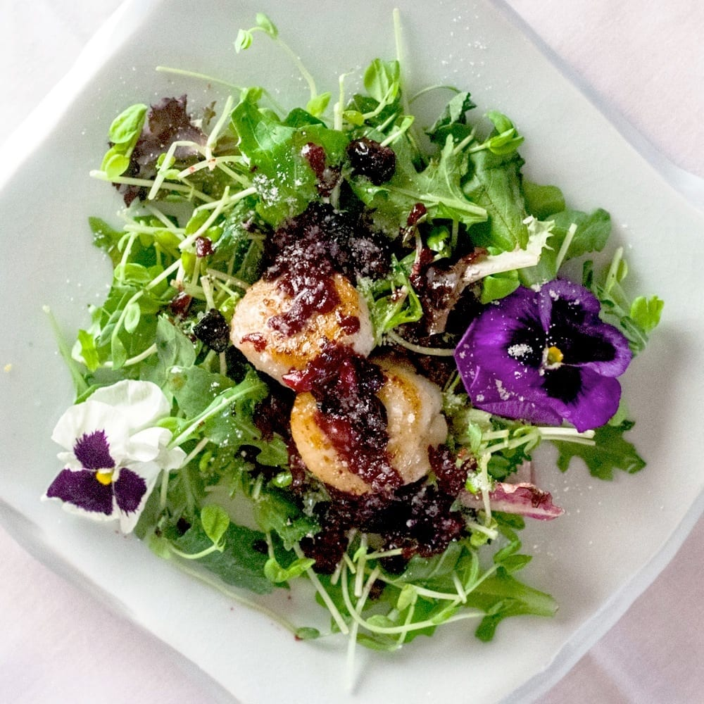 Seared Scallops With Blueberry Vinaigrette and Pea Shoots