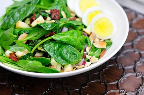 Spinach and Apple Salad with Bacon Dressing