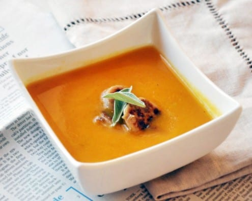 Butternut Squash Soup With Apple Chicken Sausage